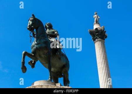 London, Trafalgar Square and Nelson's column - Stock Photo