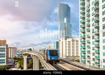 Metrorail and Miami Tower, Miami downtown - Stock Photo
