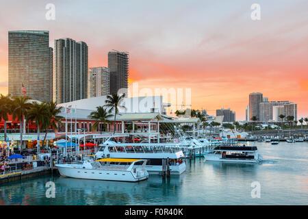 Miami, Bayside Mall at Dusk - Stock Photo