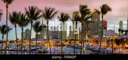Miami, Bayside Shopping Mall at Dusk - Stock Photo