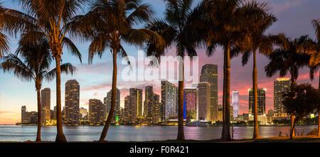 Florida, Miami Skyline at Dusk - Stock Photo