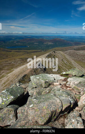 Loch Morlich and Meall a Bhuachaille from Fiacaill Buttress, The Northern Corries, Cairngorm National Park, Badenoch - Stock Photo
