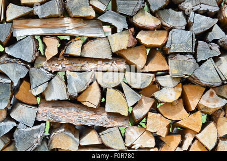 Closeup of a pile of cut and stacked firewood - Stock Photo