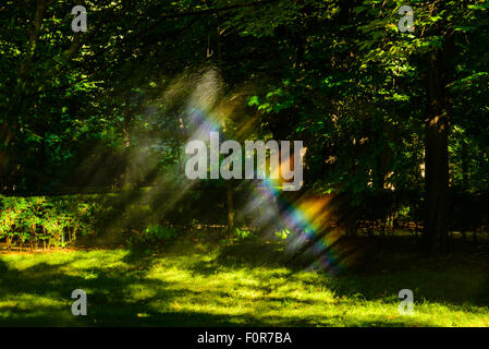 Sprinklers create rainbows in Parque del Retiro Madrid Spain - Stock Photo