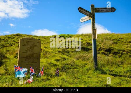 Memorial to Second World War aircrew of various nationalities killed in the Bowland Fells Lancashire UK - Stock Photo
