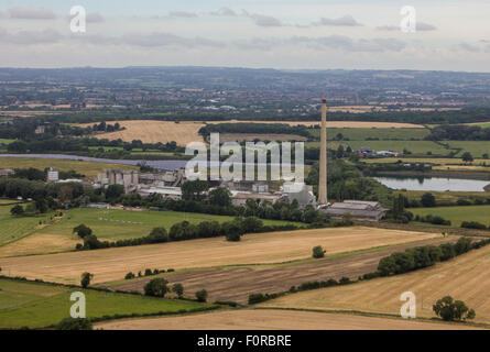 Looking across the Wiltshire town of Westbury from up the top of the hill near the White Horse. - Stock Photo