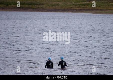 Harlaw Reservoir, Pentland Hills Regional Park, Edinburgh, Scotland, UK. 20th August, 2015. Weather is not typical - Stock Photo