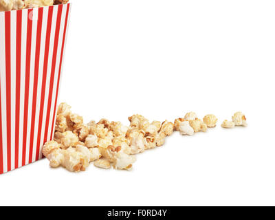 shot of cinema style popcorn in box on a white background with copy space for the designer.