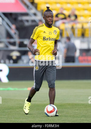 Columbus, Ohio, USA. 19th August, 2015. Columbus Crew forward Kei Kamara (23) warms up before a regular season match - Stock Photo