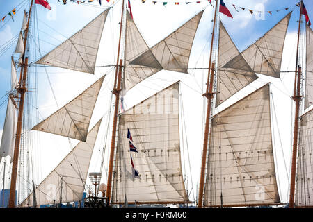 The tall ship Esmeralda from Chile, Amsterdam Sail 2015 - Stock Photo