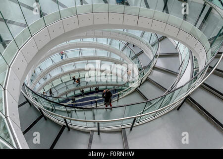 The interior staircase at City Hall which is the headquarters of the Greater London Authority (GLA) , London - Stock Photo