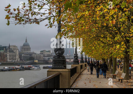 London South Bank during Autumn - Stock Photo
