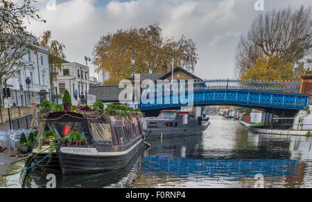 Blue Footbridge Over The Regents Canal ,Little Venice  ,London - Stock Photo