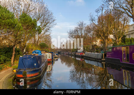 Narrow Boats moored up on The Regents Canal ,London - Stock Photo