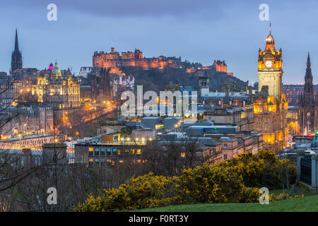 A view from Calton Hill over Edinburgh, City of Edinburgh, Scotland, United Kingdom, Europe. - Stock Photo