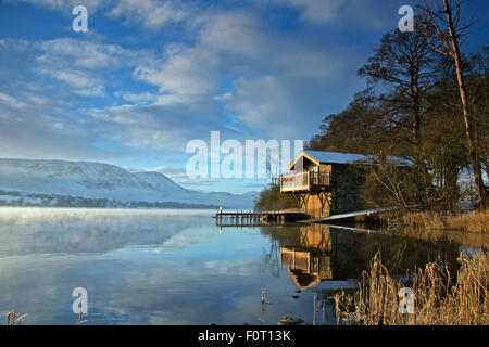 The Duke of Portland boathouse.  The boathouse is a landmark on the banks of Ullswater, Cumbria in the English Lake - Stock Photo