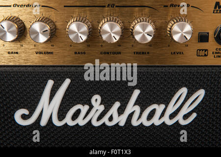 A Marshall amplifier controls on a speaker - Stock Photo