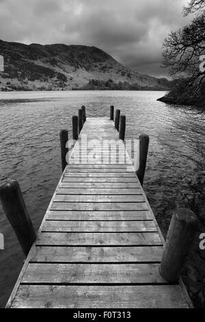 Autumn, boathouse jetty on Ullswater, Lake District National Park, Cumbria County, England, UK. - Stock Photo
