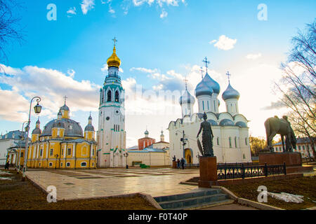 Sophia Cathedral and bell tower in the city of Vologda. Russia - Stock Photo