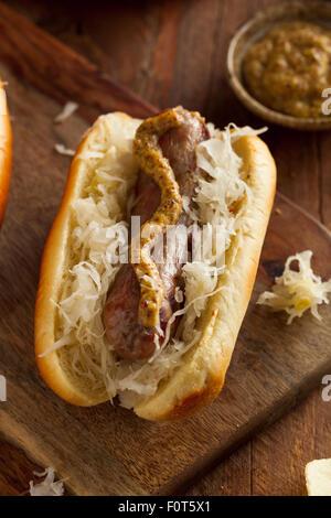 Beer Bratwurst with Sauerkraut and Spicy Mustard - Stock Photo