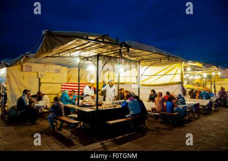 Food stalls, Jamaa el-Fna, main square, medina, Marrakesh, Morocco, northern Africa - Stock Photo