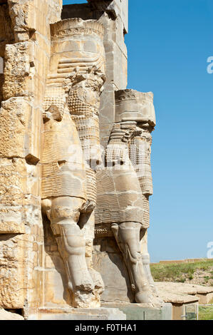Relief figures at the gate of all nations, ancient Persian royal capital Persepolis, Iran - Stock Photo