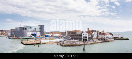 Sir Ben Ainslie's HQ for his Land Rover BAR team for the America's Cup. Old Portsmouth, Hampshire. UK. - Stock Photo