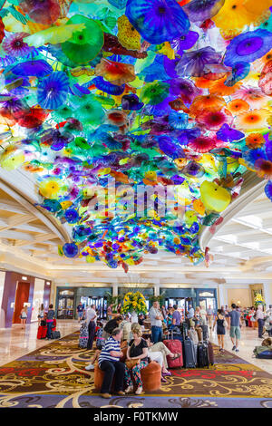 Dale Chihuly hand blown glass flower sculpture in the lobby of the Bellagio hotel Las Vegas - Stock Photo
