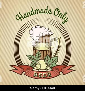 Beer Emblem in vintage style. Engraved wooden beer mug with hop leaves and ribbon. Colorful illustration. Only free - Stock Photo