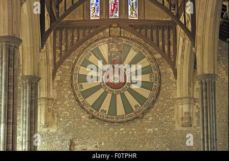 King Arthur's Round Table, the Great Hall, Winchester Castle, Winchester, Hampshire, England, UK. - Stock Photo