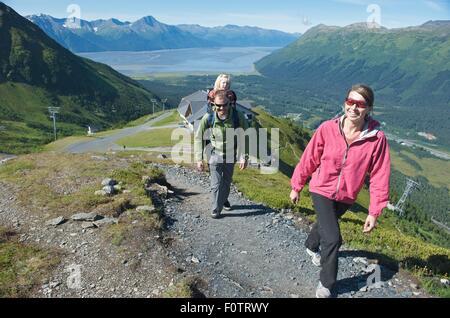 Tourists on pathway, Mighty Might Trail, Alyeska Resort, Turnagain Arm, Mt. Alyeska, Girdwood, Alaska, USA - Stock Photo