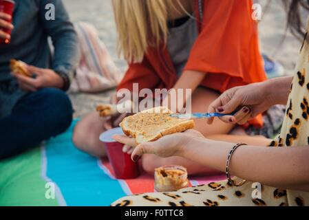 Group of friends having picnic on beach, mid section - Stock Photo