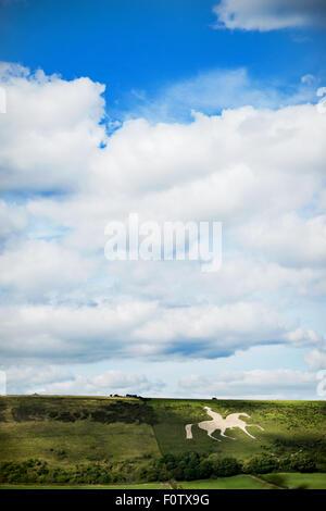 The Osmington White Horse, Chalk horse in hillside Dorset. - Stock Photo