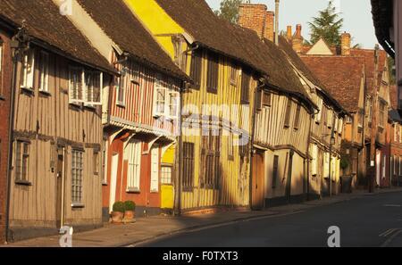 Row of rustic village houses, Lavenham, Suffolk, UK - Stock Photo