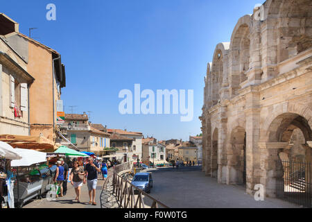 Shops around the Roman Amphitheater at Arles France - Stock Photo