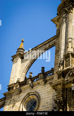 Flying buttresses on the cathedral in Jerez. - Stock Photo