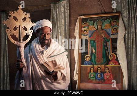Portrait of priest in church of Ura Kedane Meheriet, Zege Peninsula, Lake Tana, Ethiopia, Africa - Stock Photo