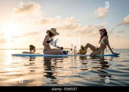 Two young women preparing cocktails on paddleboard at sunset, Islamorada, Florida, USA - Stock Photo