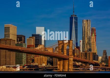 Brooklyn Bridge and the New York City skyline.
