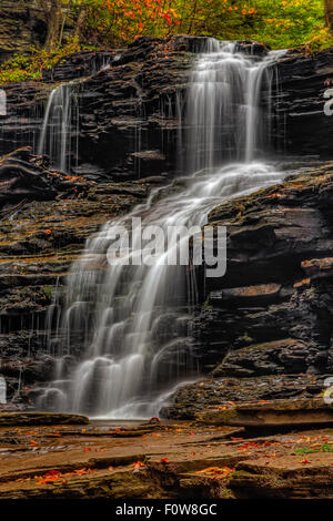 Shawnee Falls at Ricketts Glen State Park in Northern Pennsylvania during a beautiful autumn morning. - Stock Photo