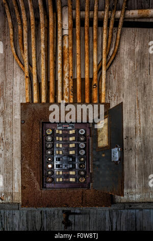 usted and abandoned Federal Electric panel board electrical breaker. - Stock Photo