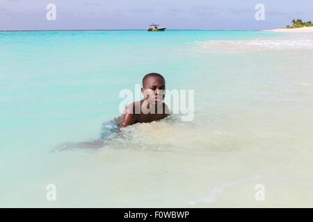 Islander in Shoal Bay in Anguilla - Stock Photo
