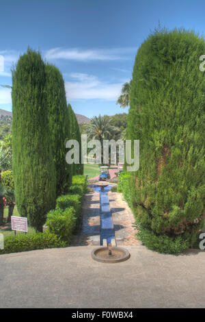 Grounds and water feature at Hotel Pr'ncipe Felipe, La Manga Club Resort, La Manga, Murcia, South Eastern Spain, - Stock Photo