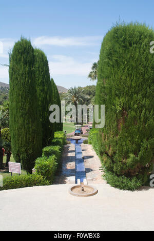 Grounds and water feature at Hotel Príncipe Felipe, La Manga Club Resort, La Manga, Murcia, South Eastern Spain, - Stock Photo