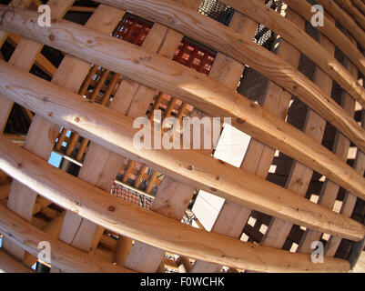 Wooden lattice with wide angle fisheye lens view - Stock Photo