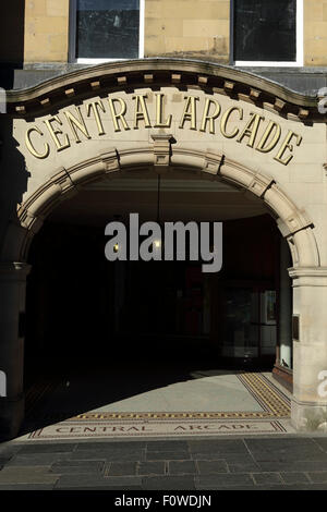 Entrance to the Central Arcade in Newcastle-upon-Tyne, England. The building is within Grainger Town. - Stock Photo