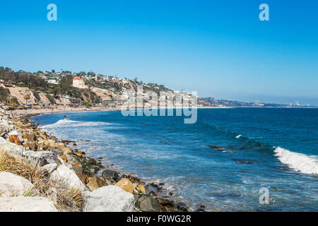 Shore in Malibu. Sunny day at the pacific ocean - Stock Photo