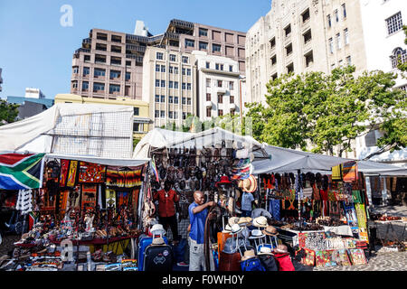 Cape Town South Africa African City Centre center Green Market Square shopping souvenirs arts & crafts vendor stall - Stock Photo