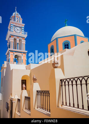 Catholic Cathedral Church of Saint John The Baptist in the town of Thira on the greek island Santorini (Thera) - Stock Photo