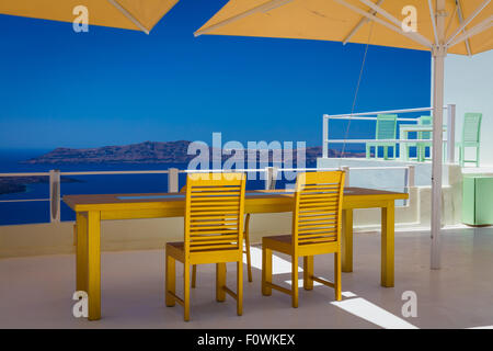 Patio with a view in the town of Thira on the greek island Santorini (Thera) - Stock Photo